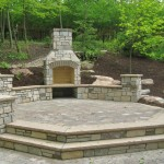 Backyard Outdoor Paver Fireplace