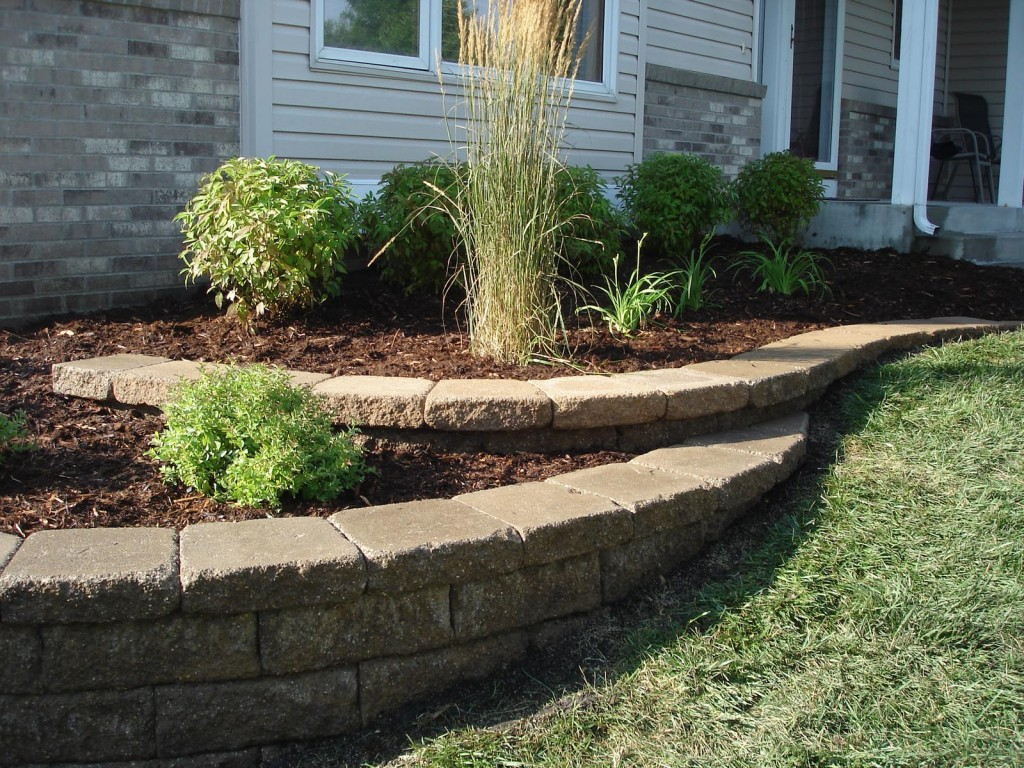 Patio Wall Design large paver patio design with grill station and seat walls 3 Side Of House Mulch Minneapolis